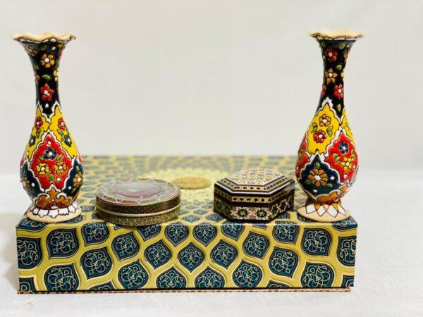 بسته اقتصادی گلدان سفال و جعبه زعفران