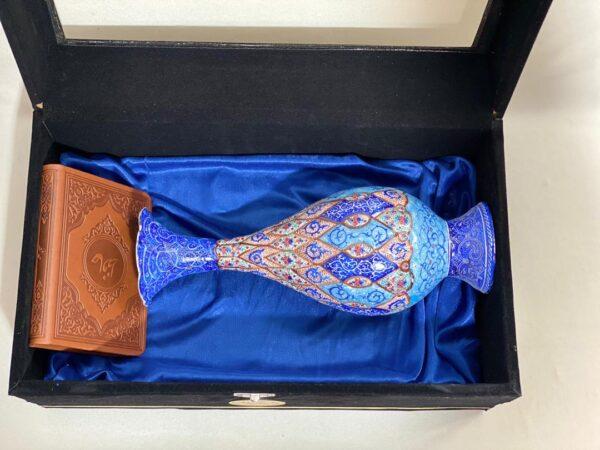 ست هدیه گلدان میناکاری و دیوان حافظ
